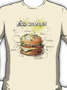 Fish Burger Watercolored Illustration T-Shirt