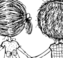 Couple in love together, valentine sketch for your design Sticker