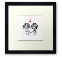 Couple in love together, valentine sketch for your design Framed Print