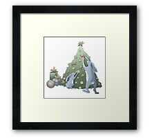 Cartoon rabbits family Framed Print