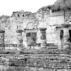 Tulum Mayan Ruins - Mexico Original Black and White Photograph by Jeanine Molnar