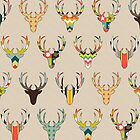 retro deer head linen by Sharon Turner