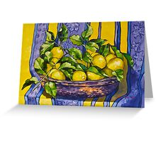 'Provence lemons in a copper bowl' 2012Ⓒ Oil on canvas. Greeting Card