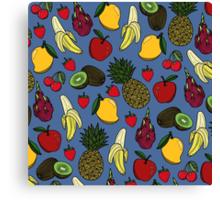 Fruit Salad - Blue Canvas Print