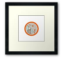Plumber Wielding Plunger Wrench Circle Cartoon Framed Print