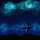 Blue Night Sparkle Full Moon by webgrrl