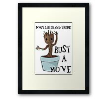 Bust a Move Baby Groot Framed Print