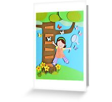 Butterfly Catcher. Paper Art Greeting Card