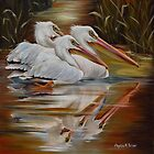 White Pelicans In The Mississippi Marsh by Phyllis Beiser