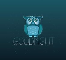 Goodnight cute Owl with night sky  by jazzydevil