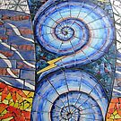 Blue Swirls Abstract Floor Mosaic - A Closer View by MidnightMelody