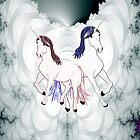Two Unicorns on a Duvet by Dennis Melling