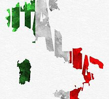 Italy Typographic Map Flag by A. TW