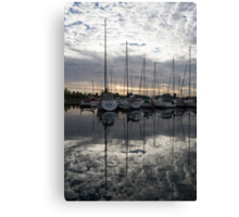 Silvery Boat Reflections - the Marina and the Pearly Clouds Canvas Print