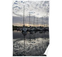 Silvery Boat Reflections - the Marina and the Pearly Clouds Poster