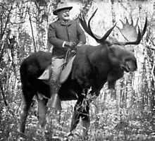 Teddy Roosevelt Riding A Bull Moose Photographic Print