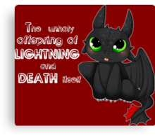 Toothless - Night fury quote Canvas Print