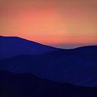 Orange Sorbet Sky and Blue Mountains by emilybrownart
