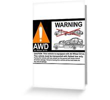 AWD Warning Towing Subaru Greeting Card