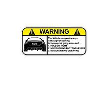 Toyota 86 Warning Drift Photographic Print