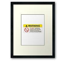 VTEC Warning Sticker, T-shirt, Phone Case Framed Print