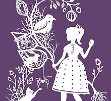 Young Girl With Branch & Animals by Hazel Partridge