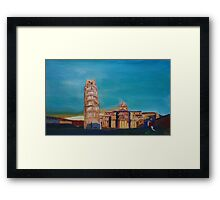 Leaning Tower of Pisa with Cathedral Square Italy  Framed Print