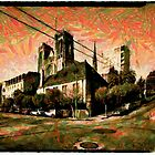 A digital painting of The Grace Cathedral, Crocker Fence, Sacramento Street, San Francisco by Dennis Melling