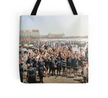 Hands up to the camera! on the beach at Atlantic CIty, NJ, 1905 Tote Bag