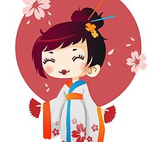 Japanese Cute Geisha by graphic-araknee