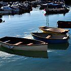 Small Boats in Lyme Harbour Dorset UK by lynn carter