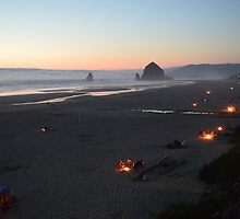 Cannon Beach Campfires by Danielle LaBerge