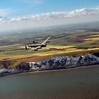 Lancaster over the white cliffs in Kent by Gary Eason + Flight Artworks