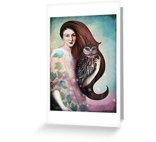 She and her Owl Greeting Card