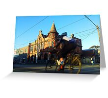 Perseverance Hotel and Cyclist (Fitzroy, Melbourne) Greeting Card
