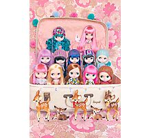 Blythes in a vintage suitcase with some bambi friends Photographic Print