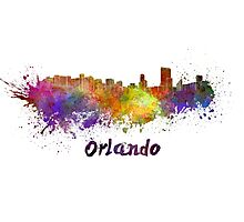 Orlando skyline in watercolor Photographic Print