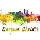Corpus Christi skyline in watercolor by paulrommer