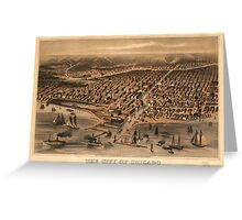 Vintage Pictorial Map of Chicago (1871) Greeting Card