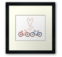 Bike lovers. White background. Framed Print