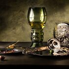 Still Life with Wine Glass and Silver Bowl after Pieter Claesz by Jon Wild