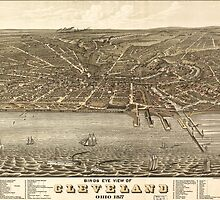 Vintage Pictorial Map of Cleveland (1877) by BravuraMedia