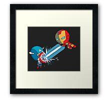 Chibi Captain America vs Chibi Iron Man Framed Print