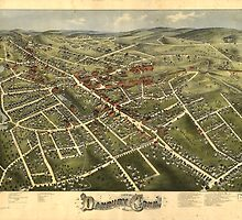 Vintage Map of Danbury Connecticut (1875) by BravuraMedia