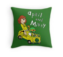 April and Mikey Throw Pillow
