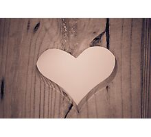 heart carved in wood Photographic Print