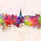 Reykjavik skyline in watercolor background by paulrommer