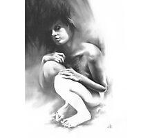 Pensive - Conté Drawing Photographic Print