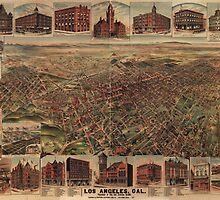 Vintage Pictorial Map of Los Angeles (1891)  by BravuraMedia