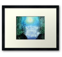 Spray Paint Art- Double waterfall Framed Print